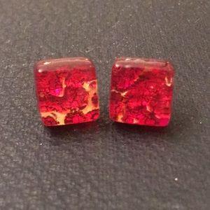 Vintage Red Italian Murano Glass Studded Earrings